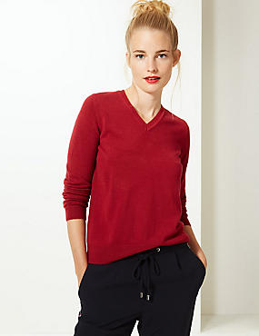 V-Neck Jumper, LACQUER RED, catlanding