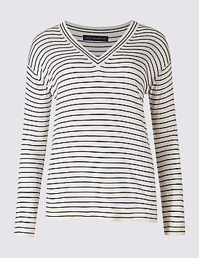 Striped V-Neck Jumper , WHITE MIX, catlanding