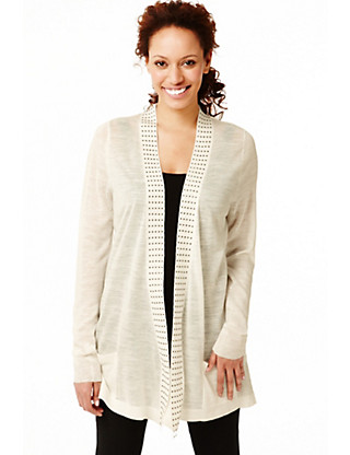 Open Front Studded Cardigan with Linen Clothing