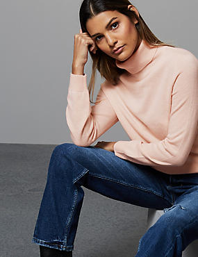 Pure Cashmere Polo Neck Jumper, BLUSH, catlanding