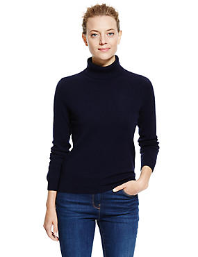 Pure Cashmere Polo Neck Jumper, NAVY, catlanding