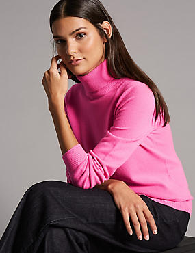 Pure Cashmere Polo Neck Jumper, HOT PINK, catlanding