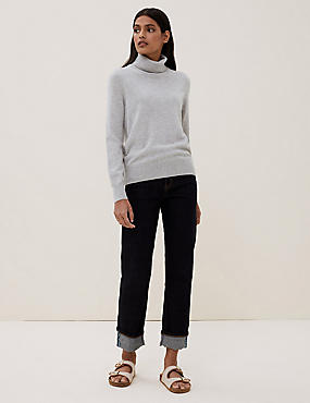 Pure Cashmere Polo Neck Jumper, SILVER GREY, catlanding