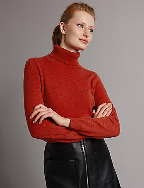 Pure Cashmere Polo Neck Jumper, BURNT ORANGE, catlanding