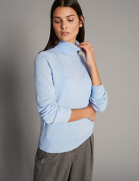 Pure Cashmere Polo Neck Jumper, CHAMBRAY, catlanding