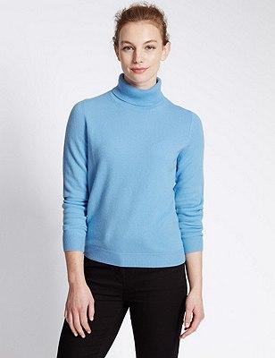 Pure Cashmere Polo Neck Jumper, SKY BLUE, catlanding