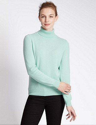 Pure Cashmere Polo Neck Jumper, DUSTED MINT, catlanding