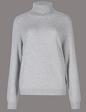Pure Cashmere Polo Neck Jumper, GREY MARL, catlanding