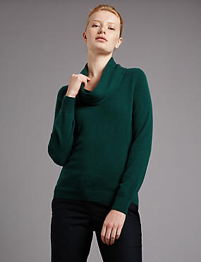 Pure Cashmere Cowl Neck Jumper, BOTTLE GREEN, catlanding