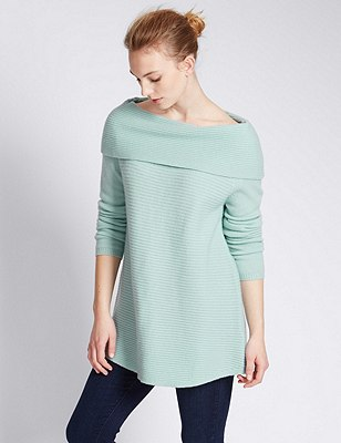 Pure Cashmere Bardot Swing Jumper, DUSTED MINT, catlanding