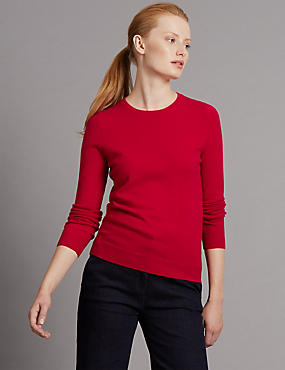 Pure Cashmere Jumper, RUBY RED, catlanding