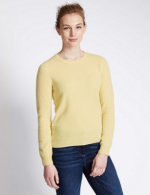 Pure Cashmere Jumper, SOFT YELLOW, catlanding