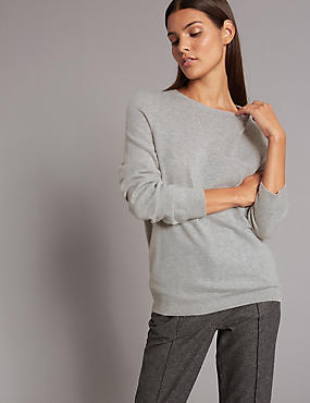 Pure Cashmere Ribbed Round Neck Jumper, SILVER GREY, catlanding