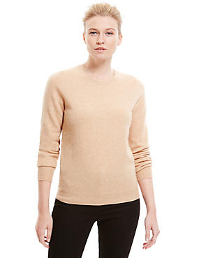 Pure Cashmere Ribbed Round Neck Jumper, LIGHT CAMEL, catlanding