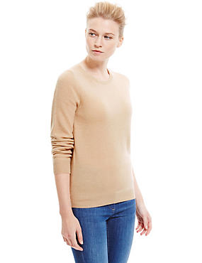 Pure Cashmere Ribbed Round Neck Jumper, BLONDE, catlanding