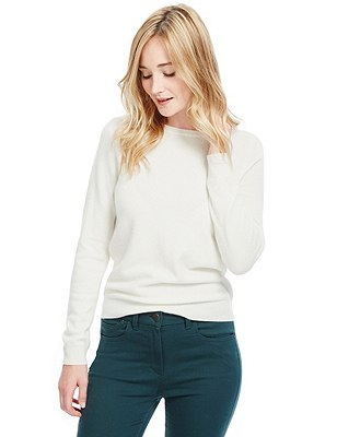 Pure Cashmere Jumper, WINTER WHITE, catlanding