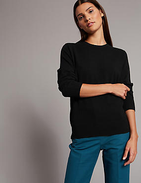 Pure Cashmere Ribbed Round Neck Jumper, BLACK, catlanding