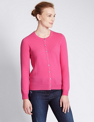 Pure Cashmere Button Through Cardigan, BRIGHT PINK, catlanding