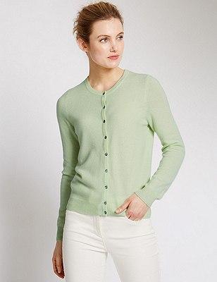 Pure Cashmere Button Through Cardigan, SOFT LIME, catlanding