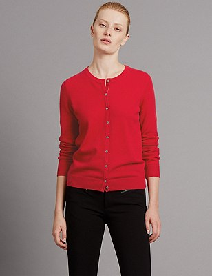 Pure Cashmere Button Through Cardigan, RUBY RED, catlanding