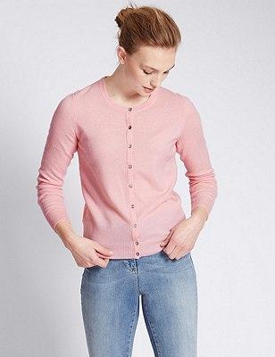 Pure Cashmere Button Through Cardigan, SOFT PINK, catlanding