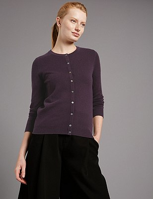 Pure Cashmere Button Through Cardigan, DAMSON, catlanding
