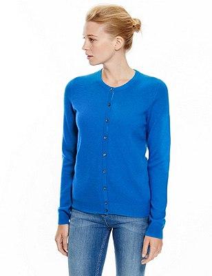 Pure Cashmere Button Through Cardigan, BLUE, catlanding