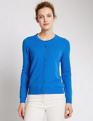 Pure Cashmere Button Through Cardigan, MEDIUM BLUE, catlanding
