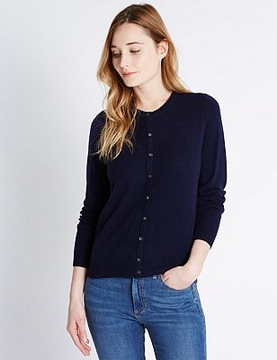 Pure Cashmere Button Through Cardigan, NAVY, catlanding