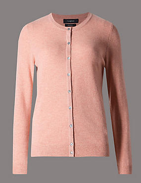 Pure Cashmere Button Through Cardigan, BLUSH PINK, catlanding