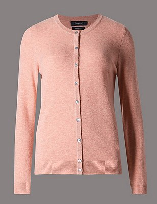 Pure Cashmere Button Through Cardigan, BLUSH PINK, catlanding