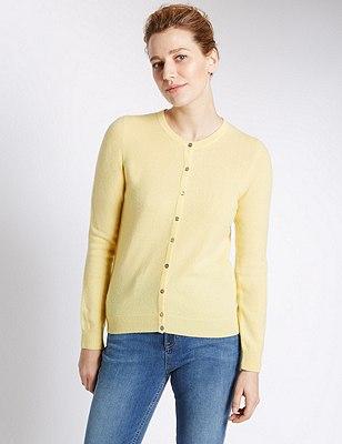 Pure Cashmere Button Through Cardigan, SOFT YELLOW, catlanding