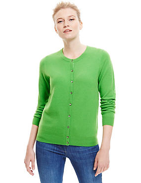 Pure Cashmere Button Through Cardigan, BRIGHT GREEN, catlanding