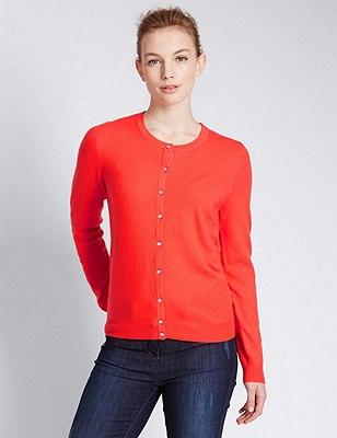 Pure Cashmere Button Through Cardigan, SUN GLOW, catlanding