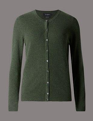 Pure Cashmere Button Through Cardigan, KHAKI, catlanding