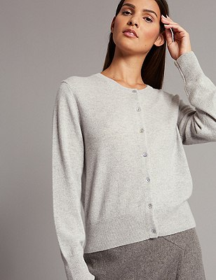 Pure Cashmere Button Through Cardigan, SILVER GREY, catlanding
