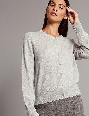 Pure Cashmere Button Through Cardigan, SILVER GREY, catlanding