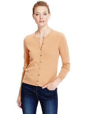 Pure Cashmere Button Through Cardigan, CAMEL, catlanding