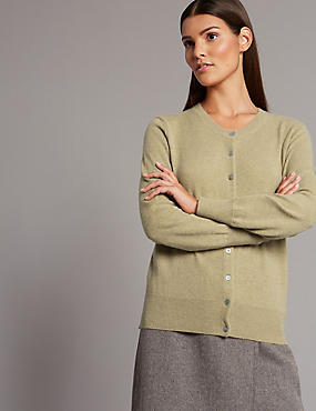 Pure Cashmere Button Through Cardigan, DARK CAMEL, catlanding