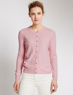 Pure Cashmere Button Through Cardigan, BLOSSOM, catlanding