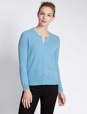 Pure Cashmere Button Through Cardigan, SKY BLUE, catlanding