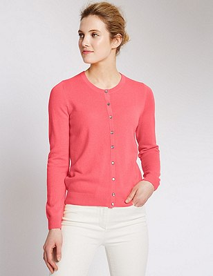 Pure Cashmere Button Through Cardigan, SOFT CORAL, catlanding