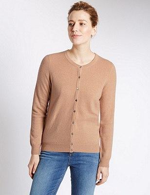 Pure Cashmere Button Through Cardigan, SAND, catlanding