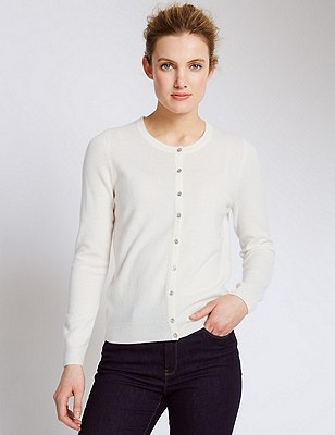Pure Cashmere Button Through Cardigan, WINTER WHITE, catlanding