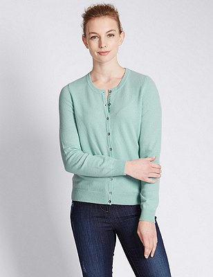 Pure Cashmere Button Through Cardigan, DUSTED MINT, catlanding