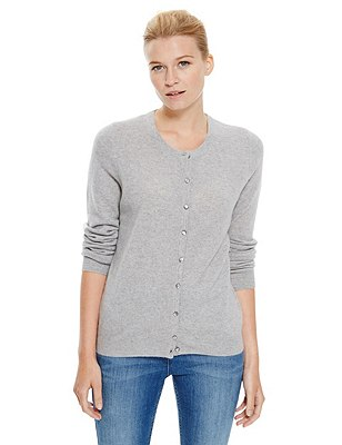 Pure Cashmere Button Through Cardigan, GREY MARL, catlanding