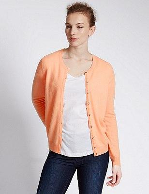 Pure Cashmere Button Through Cardigan, , catlanding