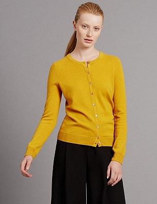 Pure Cashmere Button Through Cardigan, MUSTARD, catlanding