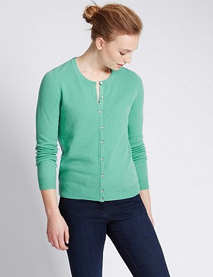 Pure Cashmere Button Through Cardigan, JADE, catlanding