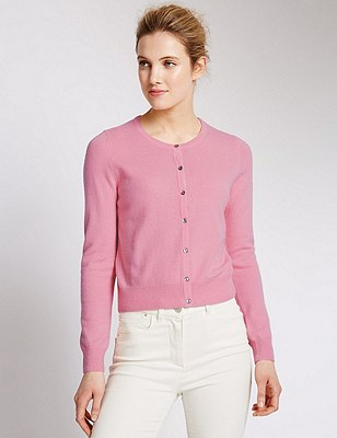 Pure Cashmere Cropped Cardigan, CARNATION, catlanding